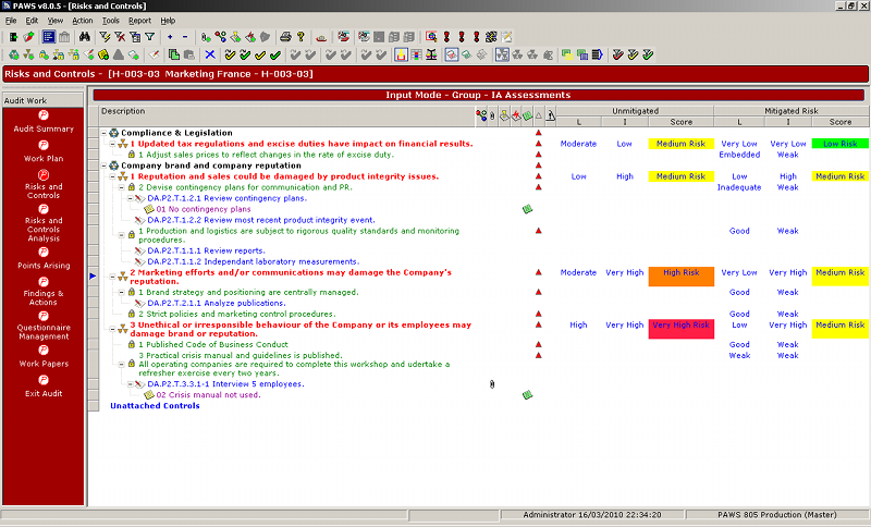 Paws pentana audit work system audit risk and control scores pronofoot35fo Choice Image