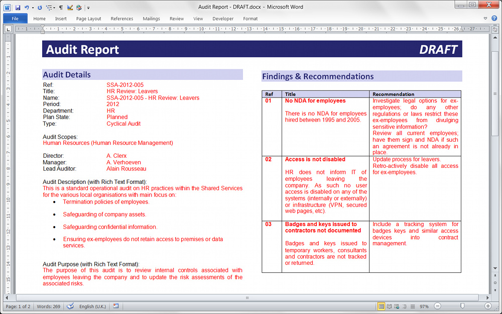 Pentana Automated Audit Report  Format For Audit Report
